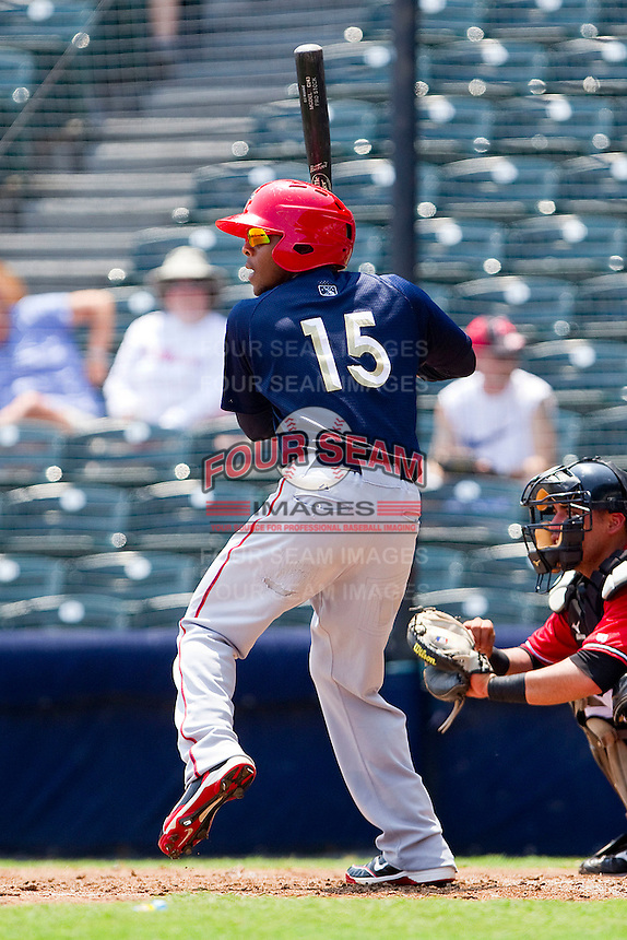 Josh Johnson #15 of the Harrisburg Senators at bat against the Richmond Flying Squirrels at The Diamond on July 22, 2011 in Richmond, Virginia.  The Squirrels defeated the Senators 5-1.   (Brian Westerholt / Four Seam Images)