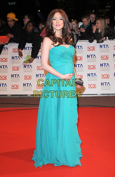 NATASHA HAMILTON  .Arrivals at the 15th National Television Awards held at the O2 Arena, London, England. .January 20th, 2010 .NTA NTAs full length green strapless dress pregnant maxi .CAP/BEL.©Tom Belcher/Capital Pictures