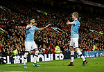 Riyad Marhez of Manchester City celebrates scoring their second goal with Kevin De Bruyne of Manchester City during the Carabao Cup match at Old Trafford, Manchester. Picture date: 7th January 2020. Picture credit should read: Darren Staples/Sportimage
