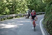 Julien Bernard (FRA/Trek-Segafredo) was part of the 13 man breakaway<br /> <br /> Stage 8: Cluses (FRA) to Champéry (SUI)(113km)<br /> 71st Critérium du Dauphiné 2019 (2.UWT)<br /> <br /> ©kramon