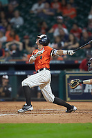 Hunter Hearn (8) of the Sam Houston State Bearkats follows through on his swing against the Mississippi State Bulldogs during game eight of the 2018 Shriners Hospitals for Children College Classic at Minute Maid Park on March 3, 2018 in Houston, Texas. The Bulldogs defeated the Bearkats 4-1.  (Brian Westerholt/Four Seam Images)