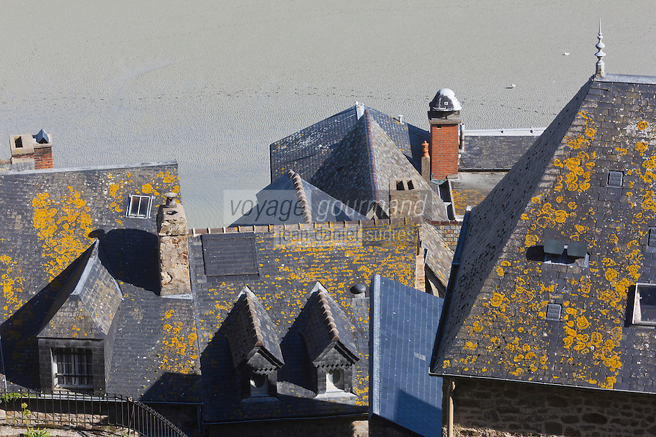 Europe/France/Normandie/Basse-Normandie/50/Manche: Baie du Mont Saint-Michel, classée Patrimoine Mondial de l'UNESCO, Le Mont Saint-Michel:  Depuis l'Abbaye, Maisons sur les remparts  / // Europe/France/Normandie/Basse-Normandie/50/Manche: Bay of Mont Saint Michel, listed as World Heritage by UNESCO,  The Mont Saint-Michel: Since the Abbey, Houses on the walls