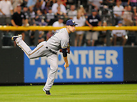 19 JUNE 2010: Milwaukee Brewers outfielder Ryan Braun makes a throw to home attempting an asssist during a regular season Major League Baseball game between the Colorado Rockies and the Milwaukee Brewers at Coors Field in Denver, Colorado.   The Rockies beat the Brewers 8-7. *****For Editorial Use Only*****