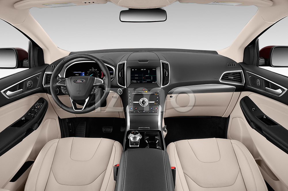 Stock photo of straight dashboard view of a 2019 Ford Edge Titanium 5 Door SUV