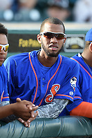St. Lucie Mets shortstop Amed Rosario (11) in the dugout before a game against the Bradenton Marauders on April 11, 2015 at McKechnie Field in Bradenton, Florida.  St. Lucie defeated Bradenton 3-2.  (Mike Janes/Four Seam Images)