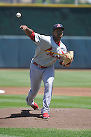 Memphis Redbirds starting pitcher Alex Reyes (22) throws during the Pacific Coast League game against the Iowa Cubs at Principal Park on June 7, 2016 in Des Moines, Iowa.  Iowa won 6-5.  (Dennis Hubbard/Four Seam Images)