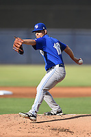 Dunedin Blue Jays pitcher Taylor Cole (19) delivers a pitch during a game against the Tampa Yankees on June 28, 2014 at George M. Steinbrenner Field in Tampa, Florida.  Tampa defeated Dunedin 5-2.  (Mike Janes/Four Seam Images)