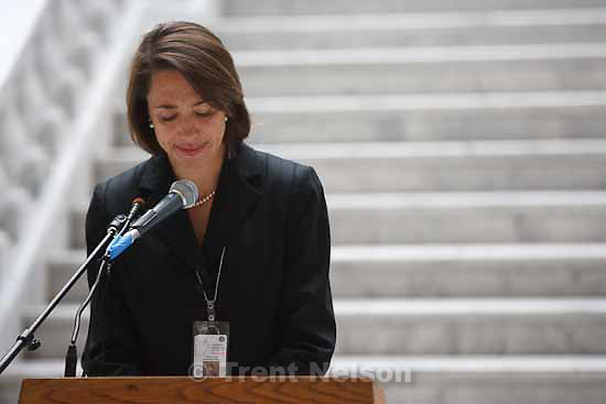 """Rep. Christine Johnson announces a resolution urging Congress to end """"Don't Ask Don't Tell""""  at a rally in honor of gay and lesbian veterans sponsored by the The Utah Pride Center at the Utah State Capitol Wednesday, November 11 2009."""