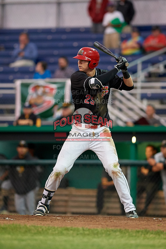 Batavia Muckdogs first baseman Sean Reynolds (25) at bat during a game against the West Virginia Black Bears on June 18, 2018 at Dwyer Stadium in Batavia, New York.  Batavia defeated West Virginia 9-6.  (Mike Janes/Four Seam Images)