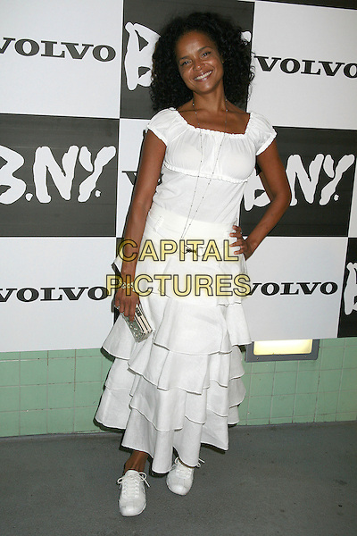 VICTORIA ROWELL.Pre-Emmy Fashion Fundraiser for The Rowell Foster Children's Positive Plan Foundation, Santa Monica, California, USA..August 24th, 2006.Ref: ADM/BP.full length white ruffles dress hand on hip.www.capitalpictures.com.sales@capitalpictures.com.©Byron Purvis/AdMedia/Capital Pictures.
