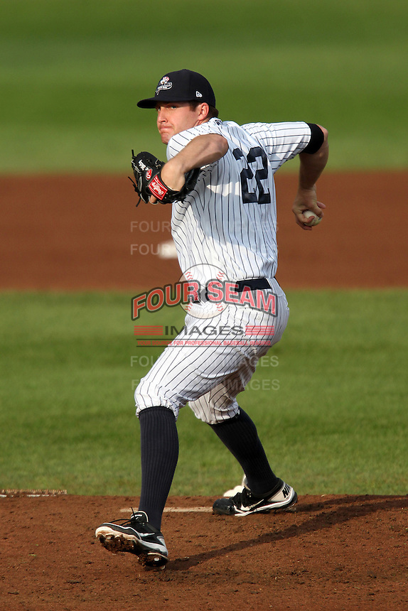 Empire State Yankees relief pitcher Chase Whitely #22 delivers a pitch during the first game of a double header against the Columbus Clippers at Frontier Field on May 8, 2012 in Rochester, New York.  Columbus defeated Empire State 1-0.  (Mike Janes/Four Seam Images)