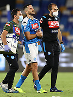 Kostantinos Manolas of SSC Napoli injury<br /> during the Serie A football match between SSC  Napoli and US Sassuolo at stadio San Paolo in Naples ( Italy ), July 25th, 2020. Play resumes behind closed doors following the outbreak of the coronavirus disease. <br /> Photo Cesare Purini / Insidefoto