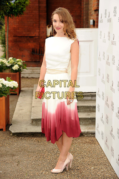 Perdita Weeks.English National Ballet Summer Party, Hyde Park, London, England..June 27th, 2012.full length white sleeveless dip dye pink ombre beige waistband  dress .CAP/CAS.©Bob Cass/Capital Pictures.