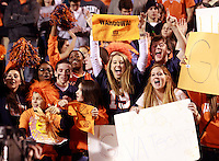 CHARLOTTESVILLE, VA- NOVEMBER 12: Virginia Cavalier fans reacts during the game against the Virginia Tech Hokies on November 28, 2011 at Scott Stadium in Charlottesville, Virginia. Virginia Tech defeated Virginia 38-0. (Photo by Andrew Shurtleff/Getty Images) *** Local Caption ***