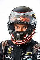 Feb 7, 2018; Pomona, CA, USA; NHRA funny car driver Jonnie Lindberg poses for a portrait during media day at Auto Club Raceway at Pomona. Mandatory Credit: Mark J. Rebilas-USA TODAY Sports