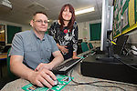 Adult Learner Paul Sharman with Linda Bendon from Bridges into Work.<br /> <br /> 05.06.14<br /> &copy;Steve Pope-FOTOWALES