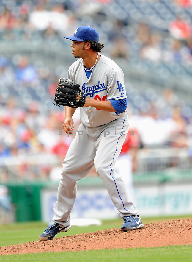 RAMON TRONCOSO, of the Los Angeles Dodgers, in action during the Dodgers game against the Washington Nations  at Nationals Park in Washington D.C.on April 25, 2010.   The Dodgers win the game 1-0....
