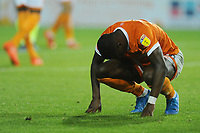 Blackpool's Sullay Kaikai looks dejected after being fouled<br /> <br /> Photographer Kevin Barnes/CameraSport<br /> <br /> The Carabao Cup First Round - Blackpool v Macclesfield Town - Tuesday 13th August 2019 - Bloomfield Road - Blackpool<br />  <br /> World Copyright © 2019 CameraSport. All rights reserved. 43 Linden Ave. Countesthorpe. Leicester. England. LE8 5PG - Tel: +44 (0) 116 277 4147 - admin@camerasport.com - www.camerasport.com