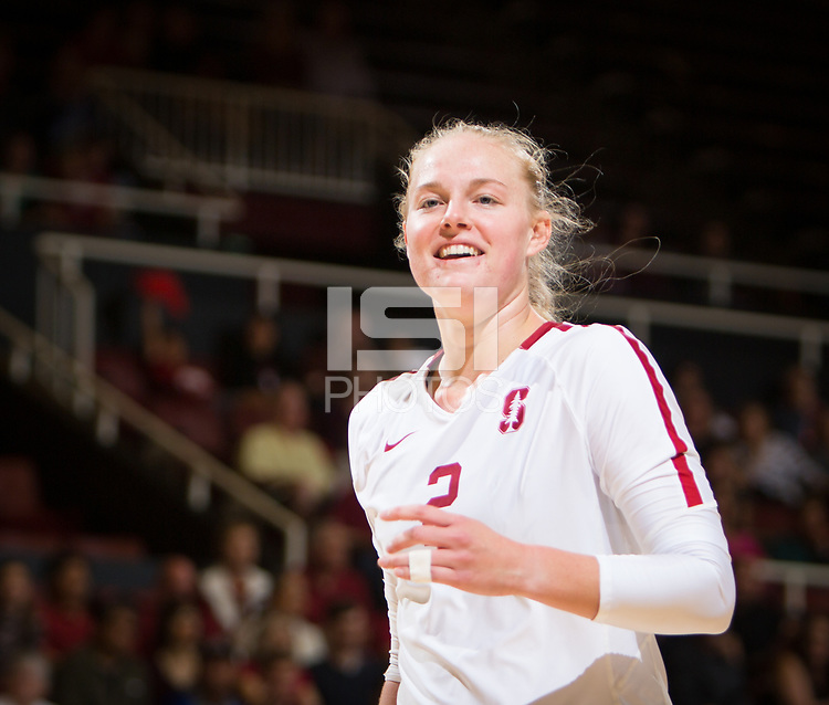 STANFORD, CA - October 12, 2018: Kathryn Plummer at Maples Pavilion. No. 2 Stanford Cardinal swept No. 21 Washington State Cougars, 25-15, 30-28, 25-12.