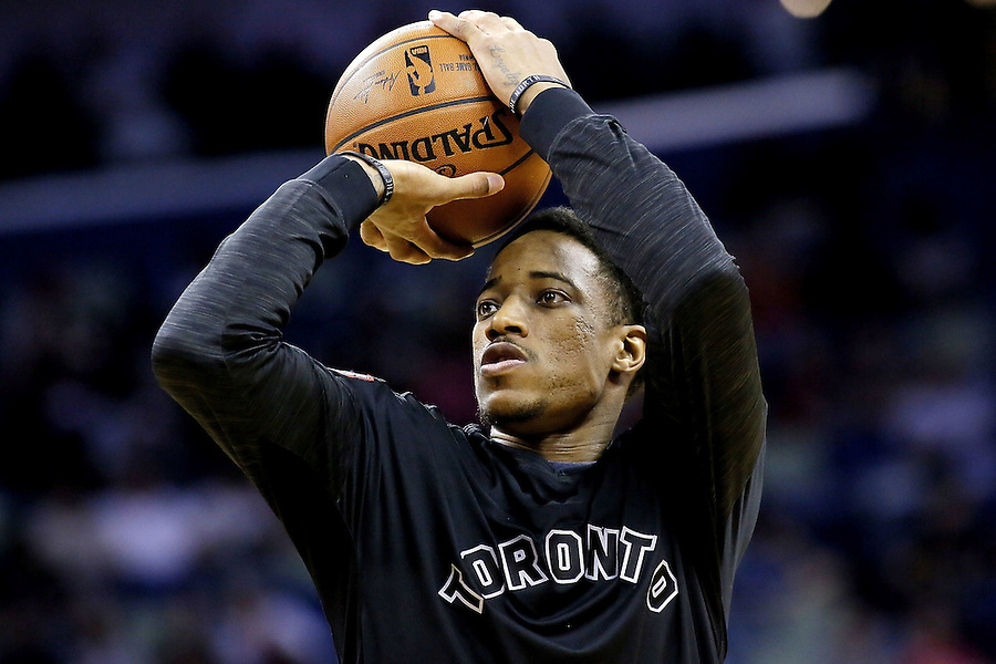 NEW ORLEANS, LA - MARCH 26: DeMar DeRozan #10 of the Toronto Raptors warms up before a game at the Smoothie King Center on March 26, 2016 in New Orleans, Louisiana. NOTE TO USER: User expressly acknowledges and agrees that, by downloading and or using this photograph, User is consenting to the terms and conditions of the Getty Images License Agreement.  (Photo by Jonathan Bachman/Getty Images)
