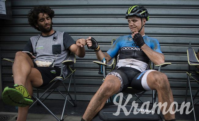 Mihkel Raim (EST/Cycling Academy), the only finisher of his team (12th!), returns to find his Cycling Academy teammates all cleaned up & waiting for him to congratulate him.<br /> Fist-bump with teammate Aviv Yechezkel (ISR/Cycling Academy Team)<br /> <br />  91th Schaal Sels 2016