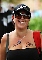 A fan with the signatures of Cameron McConville and Jason Richards during Day Three of the Hamilton 400 Aussie V8 Supercars Round Two at Frankton, Hamilton, New Zealand on Sunday, 19 April 2009. Photo: Dave Lintott / lintottphoto.co.nz