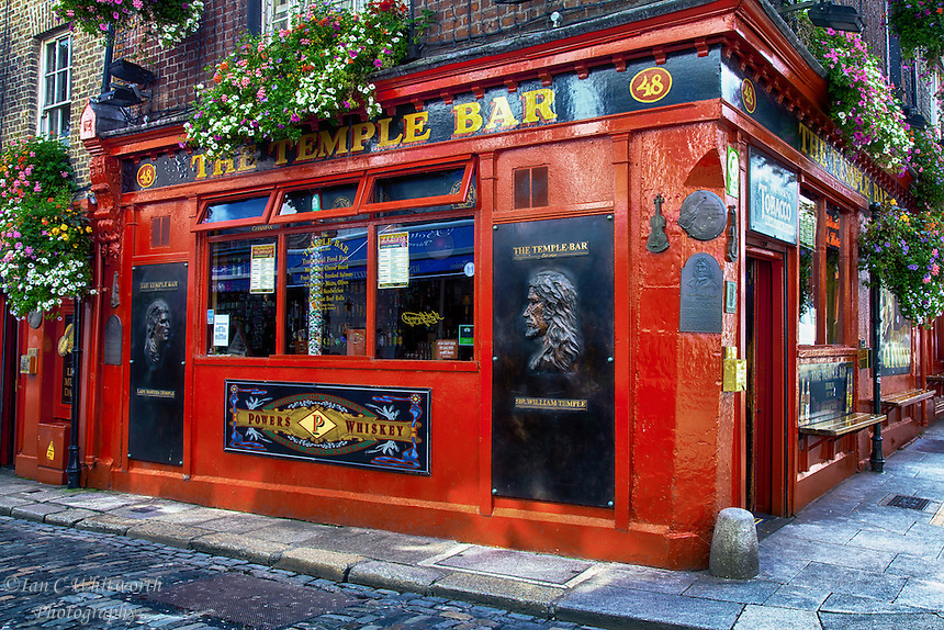 A corner view of the landmark Temple Bar in Dublin, Ireland.