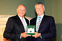 WOBURN, ENGLAND - AUGUST 30:  Peter Fowler of Australia receives the Rolex Player of the Year Award from Richard de Leyser of Rolex at the annual awards dinner held at Woburn Abbey prior to the Travis Perkins plc Senior Masters played at the Duke's course, Woburn Golf Club on August 30, 2012 in Woburn, United Kingdom.  (Photo by Phil Inglis/Getty Images) *** Local Caption *** Peter Fowler; Richard de Leyser