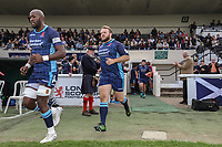 London Scottish players enter the field of play for the Greene King IPA Championship match between London Scottish Football Club and Ealing Trailfinders at Richmond Athletic Ground, Richmond, United Kingdom on 8 September 2018. Photo by David Horn.