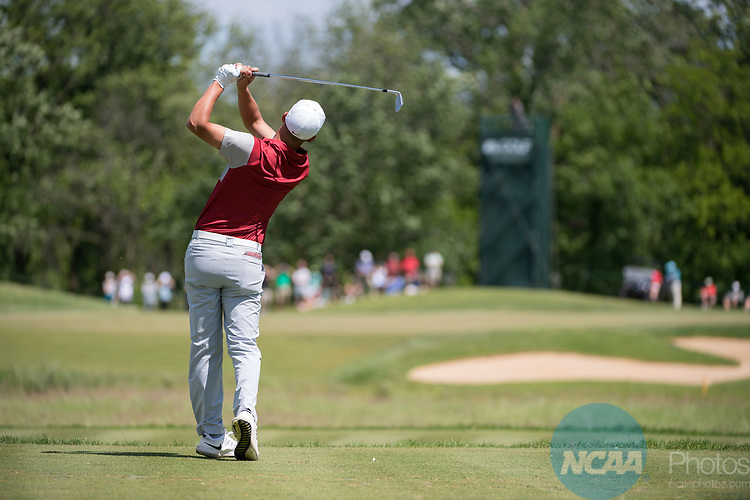 SUGAR GROVE, IL - MAY 31: Max McGreevy of the University of Oklahoma tees off during the Division I Men's Golf Team Championship held at Rich Harvest Farms on May 31, 2017 in Sugar Grove, Illinois. (Photo by Jamie Schwaberow/NCAA Photos via Getty Images)