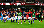 Players applaud the fans during the Championship match at the Riverside Stadium, Middlesbrough. Picture date: August 12th 2017. Picture credit should read: Simon Bellis/Sportimage