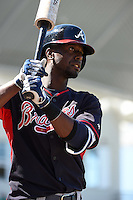 Atlanta Braves infielder Pedro Ciriaco (61) during a Spring Training game against the Boston Red Sox on March 17, 2015 at JetBlue Park at Fenway South in Fort Myers, Florida.  Atlanta defeated Boston 11-3.  (Mike Janes/Four Seam Images)