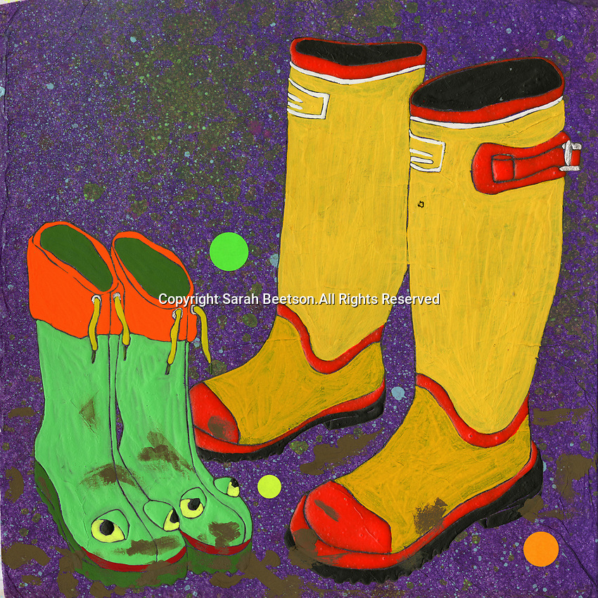 Child's frog wellington boots next to adult pair