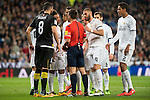 Real Madrid's players protesting the referee after a penalty whistle during La Liga match. March 20,2016. (ALTERPHOTOS/Borja B.Hojas)
