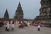 Yogyakarta, Java, Indonesia.  Indonesian Tourists Visiting the Prambanan Temples, a World Heritage Site.