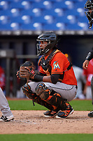 Miami Marlins catcher Luis Arcaya (83) waits to receive a pitch during a Florida Instructional League game against the Washington Nationals on September 26, 2018 at the Marlins Park in Miami, Florida.  (Mike Janes/Four Seam Images)