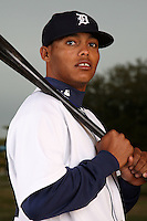 February 27, 2010:  Infielder Gustavo Nunez (73) of the Detroit Tigers poses for a photo during media day at Joker Marchant Stadium in Lakeland, FL.  Photo By Mike Janes/Four Seam Images