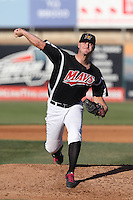 Lars Huijer #17 of the High Desert Mavericks pitches against the San Jose Giants at Heritage Field on August 31, 2014 in Adelanto, California. High Desert defeated San Jose, 9-6. (Larry Goren/Four Seam Images)