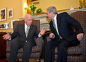 United States Senator Patrick Leahy (Democrat of Vermont), left, Ranking Member, US Senate Committee on the Judiciary, meets Judge Merrick Garland, right, chief justice for the US Court of Appeals for the District of Columbia Circuit, who is US President Barack Obama's selection to replace the late Associate Justice Antonin Scalia on the US Supreme Court on Capitol Hill in Washington, DC on Thursday, March 17, 2016.   <br /> Credit: Ron Sachs / CNP