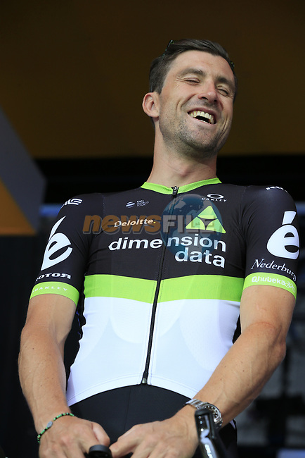 Bernhard Eisel (AUT) Team Dimension Data on stage at the Team Presentation in Burgplatz Dusseldorf before the 104th edition of the Tour de France 2017, Dusseldorf, Germany. 29th June 2017.<br /> Picture: Eoin Clarke | Cyclefile<br /> <br /> <br /> All photos usage must carry mandatory copyright credit (&copy; Cyclefile | Eoin Clarke)