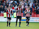 Leon Clarke of Sheffield Utd applauds the fans during the English Championship League match at Bramall Lane Stadium, Sheffield. Picture date: August 5th 2017. Pic credit should read: Simon Bellis/Sportimage