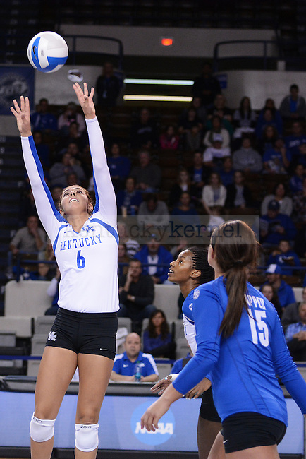 Sophomore Morgan Bergren(6) sets the ball for Junior Jackie Napper(15) against South Carolina in Lexington, Ky., on Friday, November 8, 2013. Photo by Caleb Gregg   Staff