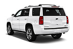 Car pictures of rear three quarter view of a 2018 Chevrolet Tahoe Premier 2WD 5 Door SUV angular rear