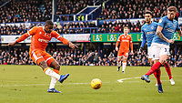 Blackpool's Donervon Daniels shoots at goal <br /> <br /> Photographer Andrew Kearns/CameraSport<br /> <br /> The EFL Sky Bet League One - Portsmouth v Blackpool - Saturday 12th January 2019 - Fratton Park - Portsmouth<br /> <br /> World Copyright &copy; 2019 CameraSport. All rights reserved. 43 Linden Ave. Countesthorpe. Leicester. England. LE8 5PG - Tel: +44 (0) 116 277 4147 - admin@camerasport.com - www.camerasport.com