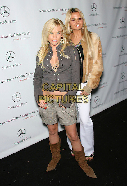 COLLEN SHANNON & GUEST.Mercedes-Benz Fall 2006 L.A. Fashion Week -DAY 3 held at Smashbox Studios, Culver City, California, USA..March 21st, 2006.Photo: Zach Lipp/AdMedia/Capital Pictures.Ref: ZL/ADM.full length brown boots green shorts grey gray jacket .www.capitalpictures.com.sales@capitalpictures.com.© Capital Pictures.