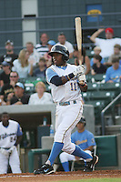 Myrtle Beach Pelicans shortstop Mycal Jones #11 at bat during a game vs. the Wilmington Blue Rocks at BB&T Coastal Field in Myrtle Beach,SC on July 20, 2010.  Myrtle Beach defeated Wilmington by the score of 5-4.  Photo By Robert Gurganus/Four Seam Images