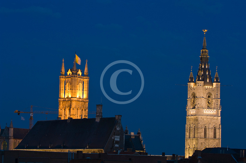 Belgium, Ghent, St. Bavo's Cathedral and Belfry at night