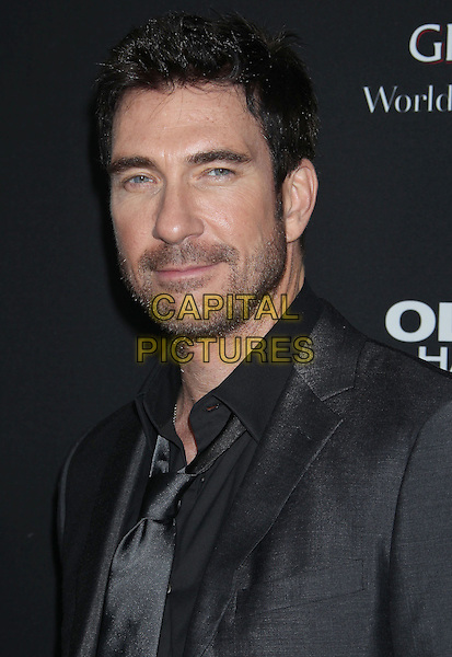 "Dylan McDermott.""Olympus Has Fallen"" Los Angeles Premiere held at ArcLight Cinemas Cinerama Dome, Hollywood, California, USA..March 18th, 2013.headshot portrait black suit shirt tie grey gray stubble facial hair .CAP/ADM/RE.©Russ Elliot/AdMedia/Capital Pictures."