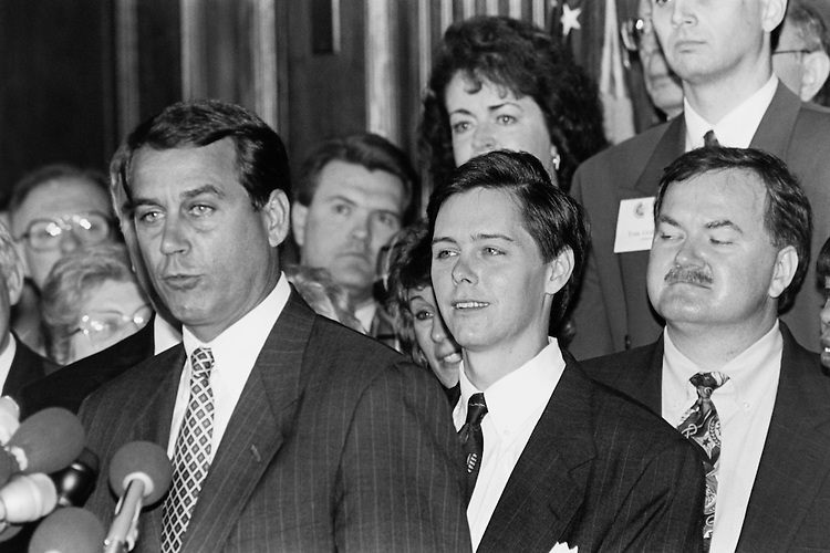 Rep. John Andrew Boehner, R-Ohio., House of Representatives Member, House Republican Conference Chairman, speaks at Christian Coalition Press Conference on the Hill in May 1995.  Ralph Reed is in the center. August 11, 1995 (Photo by Laura Patterson/CQ Roll Call)