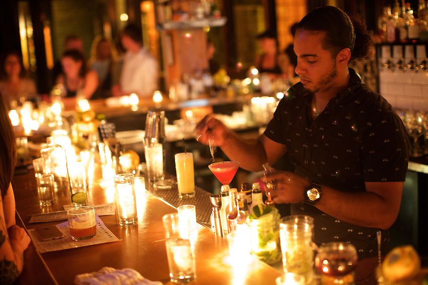 Rochester, NY - June 23, 2016: The bar at Good Luck, a modern American restaurant in the Neighborhood of the Arts.<br /> <br /> CREDIT: Clay Williams.<br /> <br /> &copy; Clay Williams / claywilliamsphoto.com